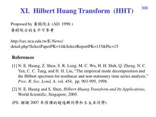 X I .  Hilbert Huang Transform  (HHT)