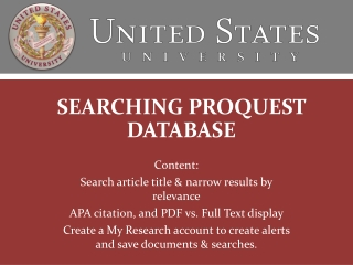 SEARCHING PROQUEST DATABASE