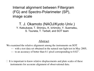 Internal alignment between Filtergram (FG) and Spectro-Polarimeter (SP), image scale