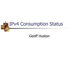 IPv4 Consumption Status