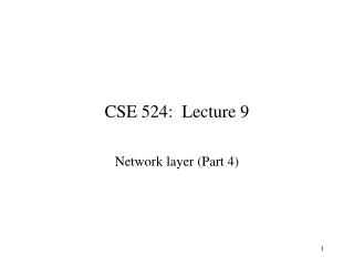 CSE 524:  Lecture 9