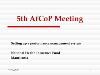 5th AfCoP Meeting