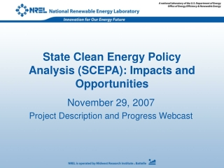 State Clean Energy Policy Analysis (SCEPA): Impacts and Opportunities