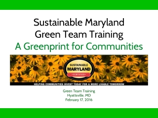 Sustainable Maryland Green Team Training A Greenprint for Communities