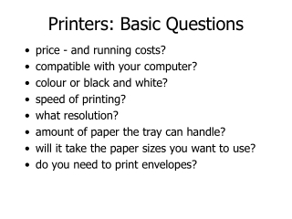 Printers: Basic Questions