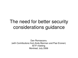 The need for better security considerations guidance