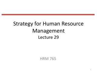 Strategy for Human Resource Management Lecture 29