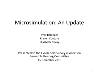 Microsimulation: An Update