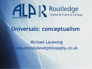 Universals: conceptualism