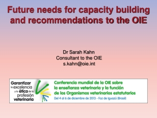 Future needs for capacity building and recommendations to the OIE