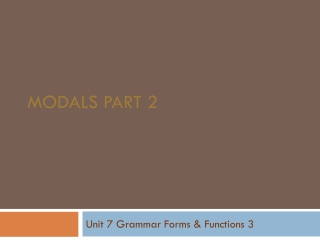 Modals part 2