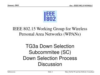 IEEE 802.15 Working Group for Wireless Personal Area Networks (WPANs )