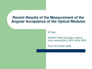 Recent Results of the Measurement of the Angular Acceptance of the Optical Modules