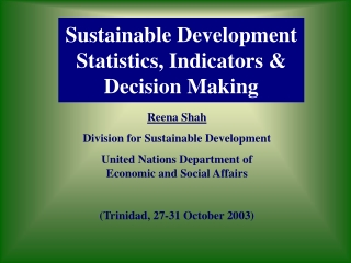 Sustainable Development Statistics, Indicators & Decision Making