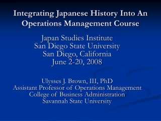 Integrating Japanese History Into An Operations Management Course