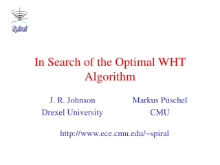 In Search of the Optimal WHT Algorithm