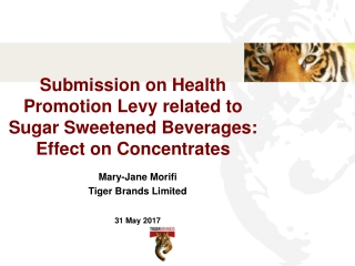 Submission on Health Promotion Levy related to Sugar Sweetened Beverages: Effect on Concentrates