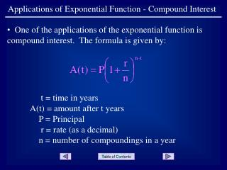 Applications of Exponential Function - Compound Interest
