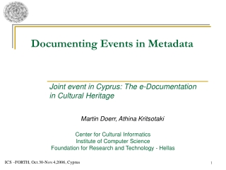 Documenting Events in Metadata