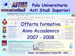 Polo Universitario  Asti Studi Superiori