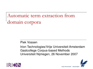 Automatic term extraction from domain corpora
