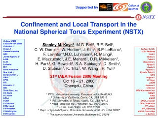 Confinement and Local Transport in the National Spherical Torus Experiment (NSTX)