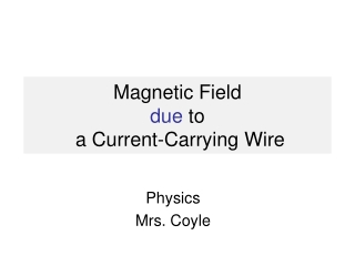 Magnetic Field  due  to  a Current-Carrying Wire
