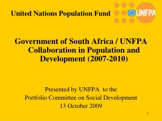Government of South Africa / UNFPA Collaboration in Population and Development (2007-2010)