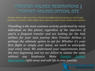 Frontier Airlines Reservations   Frontier Airlines Official Site