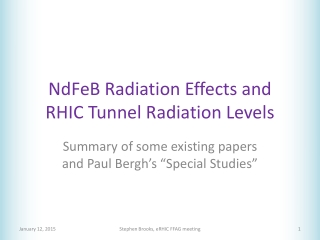 NdFeB Radiation Effects and RHIC Tunnel Radiation Levels