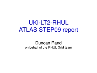 UKI-LT2-RHUL  ATLAS STEP09 report Duncan Rand on behalf of the RHUL Grid team