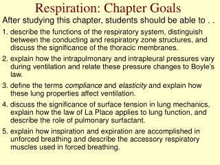 Respiration: Chapter Goals