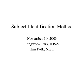 Subject Identification Method