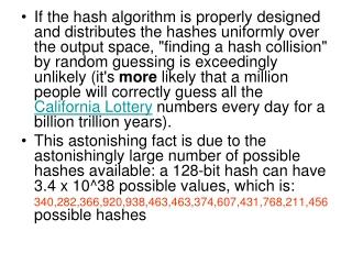 1 gig numbers / sec 1 gig  = 10^9 = 2^30 128 bit will take 2^98 secs  = 2^73 years = 10^20 years