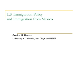 U.S. Immigration Policy  and Immigration from Mexico