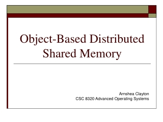 Object-Based Distributed Shared Memory