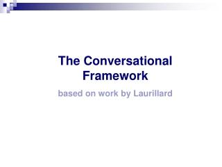 The Conversational Framework based on work by Laurillard