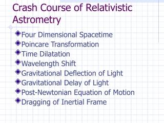 Crash Course of Relativistic Astrometry