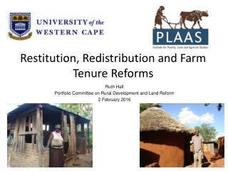 Ruth Hall Portfolio Committee on Rural Development and Land Reform 2 February 2016
