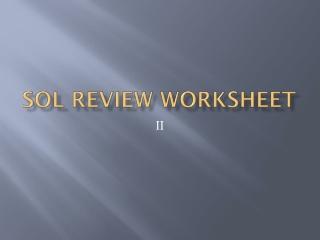 SOL Review Worksheet