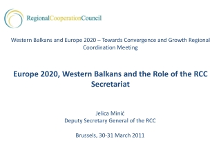 Jelica  Minić Deputy Secretary General of the RCC Brussels, 30-31 March 2011