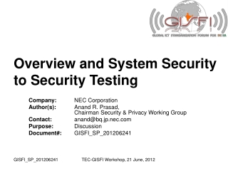 Overview and System Security to Security Testing