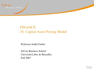 FINANCE 10. Capital Asset Pricing Model