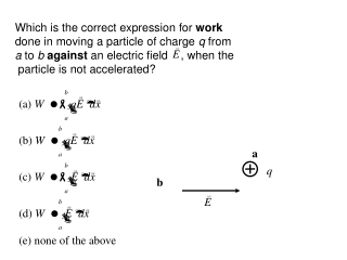 Which is the correct expression for  work  done in moving a particle of charge  q  from