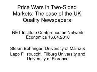 Price Wars in Two-Sided Markets: The case of the UK Quality Newspapers