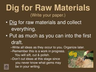 Dig for Raw Materials (Write your paper.)