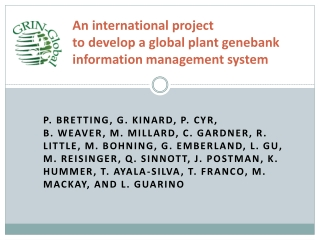 An international project  to develop a global plant genebank  information management system