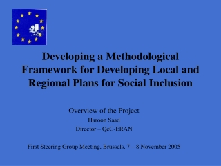 Developing a Methodological Framework for Developing Local and Regional Plans for Social Inclusion
