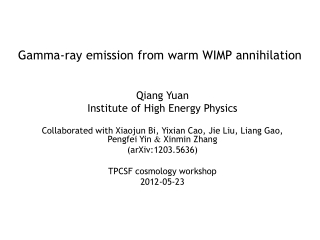 Gamma-ray emission from warm WIMP annihilation