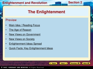 Preview Main Idea / Reading Focus  The Age of Reason New Views on Government New Views on Society